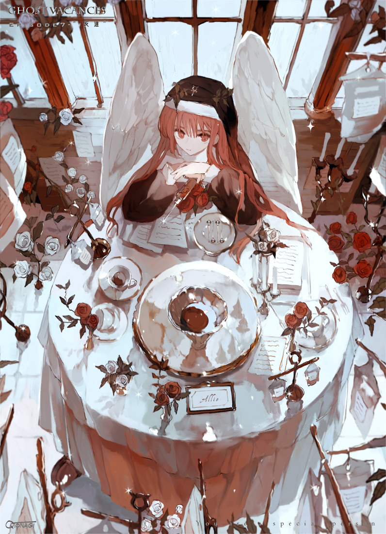 1girl angel_wings artist_name asahiro candle candlestand cup flower glint habit holding holding_syringe iv_stand long_hair long_sleeves original paper plate puffy_sleeves red_eyes redhead rose sitting solo syringe table tablecloth teacup white_flower white_rose window wings