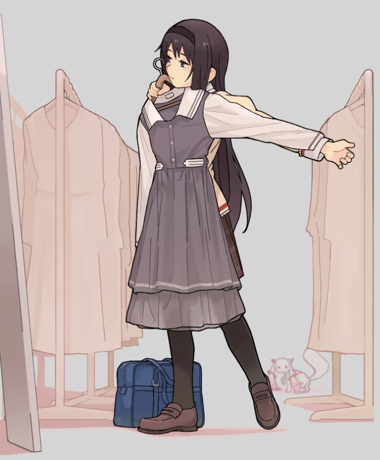1girl akemi_homura bag bag_removed bangs black_eyes black_hair black_hairband black_legwear blurry blurry_background brown_footwear brown_shirt brown_skirt closed_mouth clothes_hanger clothes_in_front clothes_rack collared_dress dress dress_removed expressionless full-length_mirror full_body grey_background grey_dress hairband hands_up holding holding_clothes holding_dress kyubey loafers long_hair long_sleeves looking_at_object mahou_shoujo_madoka_magica miniskirt mirror mitakihara_school_uniform outstretched_arm pantyhose plaid plaid_skirt pleated_skirt school_bag school_uniform shima_(landsuzume) shirt shoes simple_background skirt solo standing very_long_hair white_sleeves