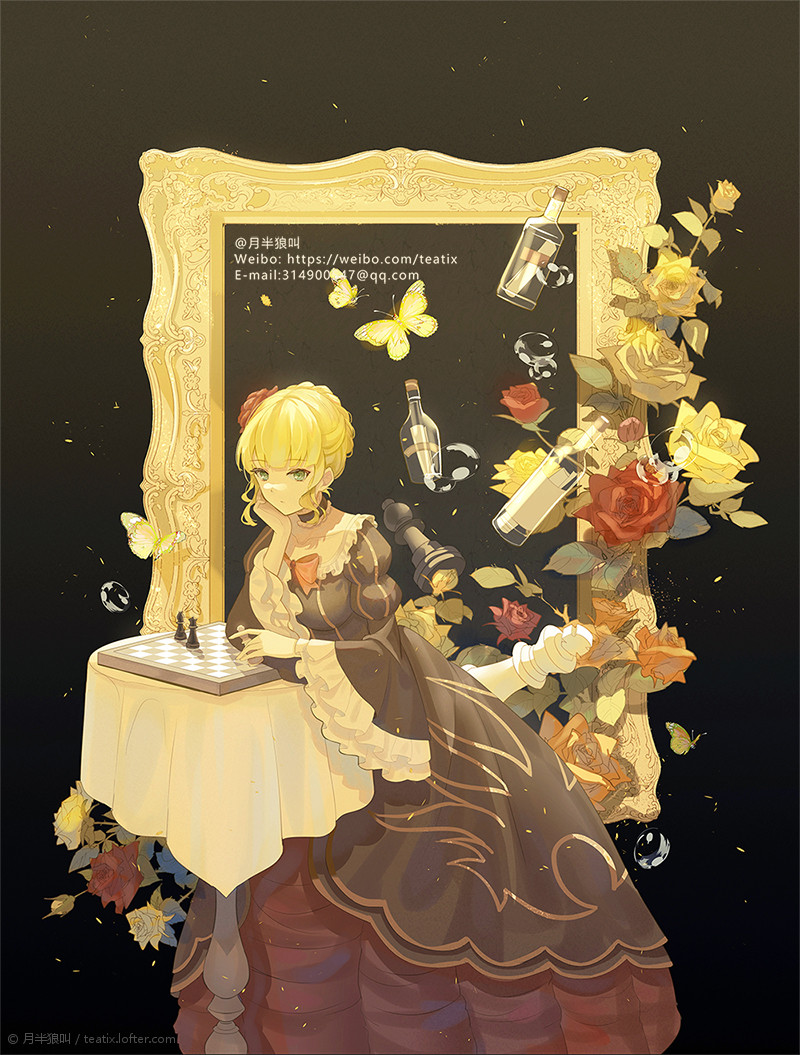 1girl beatrice_(umineko) blonde_hair bug butterfly chess_piece chessboard choker dress email_address expressionless eyebrows_visible_through_hair flower frilled_choker frilled_sleeves frills green_eyes hair_flower hair_ornament hand_on_own_cheek hand_on_own_face holding_chess_piece insect juliet_sleeves layered_dress lofter_username long_sleeves message_in_a_bottle orange_flower orange_rose picture_frame puffy_sleeves red_flower red_rose rose solo striped striped_sleeves teatix umineko_no_naku_koro_ni vertical_stripes visible_ears water_drop weibo_username wide_sleeves yellow_flower yellow_rose