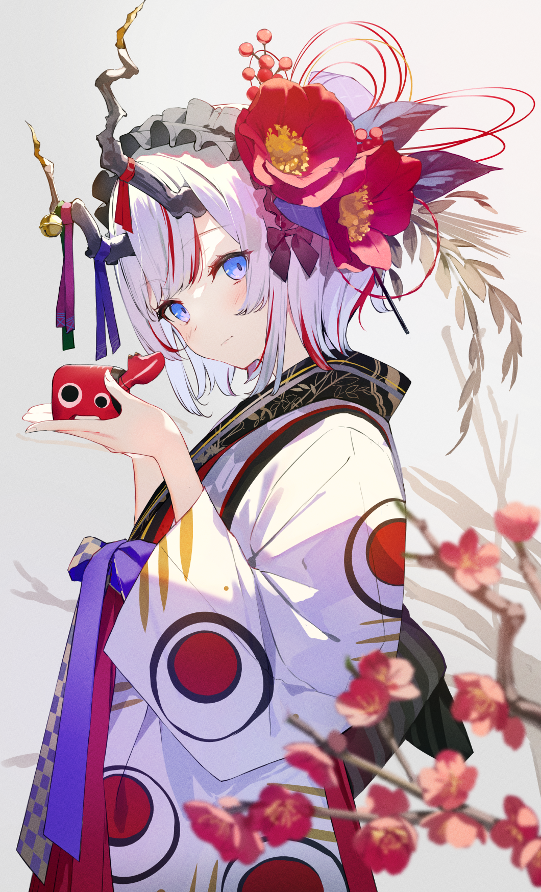 1girl blue_eyes blue_ribbon blurry blurry_foreground blush cherry_blossoms chinese_zodiac closed_mouth commentary_request depth_of_field flower from_side grey_background hair_flower hair_ornament hairband hands_up highres holding horn_bell horn_ornament horn_ribbon horns japanese_clothes kimono long_sleeves looking_at_viewer looking_to_the_side multicolored_hair original patterned_clothing purple_ribbon red_flower red_ribbon redhead ribbon short_hair simple_background smile solo streaked_hair sutorora tagme tree_branch two-tone_hair white_hair white_headwear white_kimono wide_sleeves year_of_the_ox