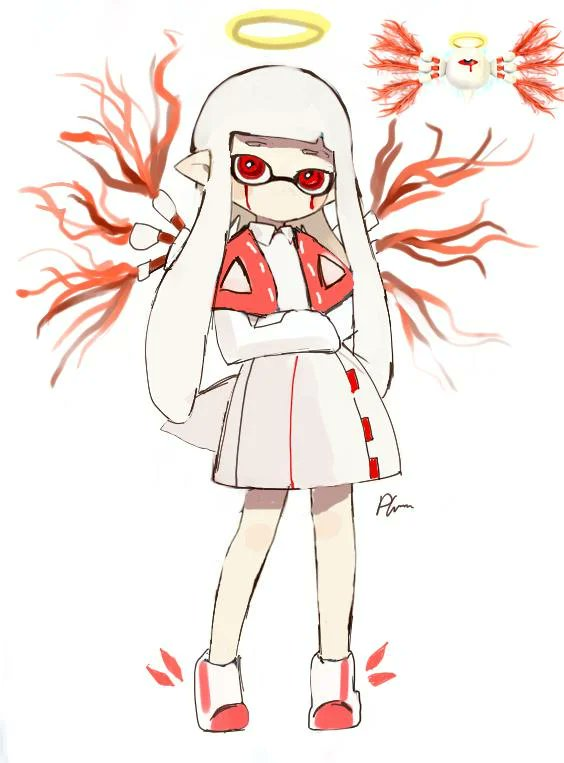 1girl ambiguous_gender artist_request blood bloody_tears commentary crossover domino_mask dress full_body fusion halo hime_cut inf1n1teart inkling kirby_(series) kirby_64 mask multiple_views no_mouth pointy_ears red_eyes reference_photo_inset signature simple_background splatoon_(series) tail tentacle_hair watermark white_background white_dress white_footwear white_hair winged_footwear wings zero_two_(kirby)