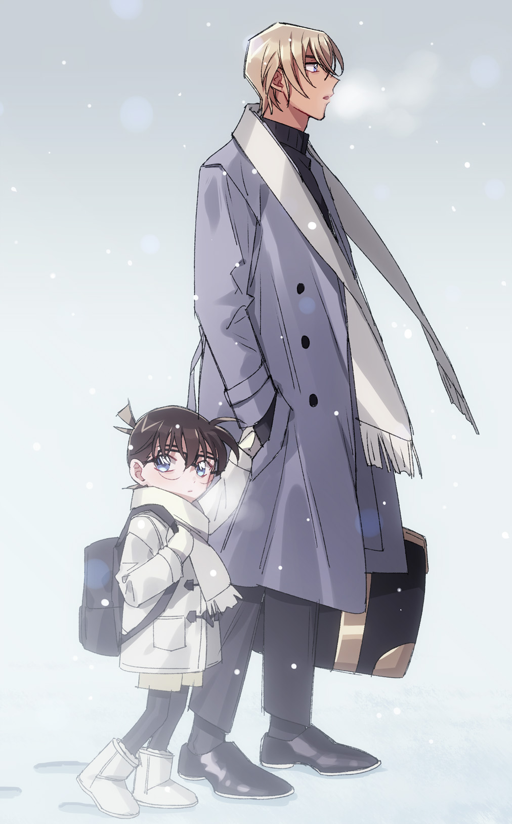 2boys amuro_tooru backpack bag bangs black-framed_eyewear black_bag black_footwear black_legwear black_pants black_sweater blue_eyes boots breath briefcase brown_gloves brown_shorts closed_mouth coat commentary_request edogawa_conan floating_scarf footprints from_side full_body glasses gloves grey_background grey_coat grey_footwear grey_gloves grey_scarf hair_between_eyes highres holding holding_briefcase holding_hands holding_strap k_(gear_labo) long_sleeves looking_at_viewer looking_to_the_side male_focus meitantei_conan multiple_boys open_clothes open_coat open_mouth pants pantyhose purple_coat scarf shoes shorts simple_background snowing sweater turtleneck turtleneck_sweater walking winter winter_clothes