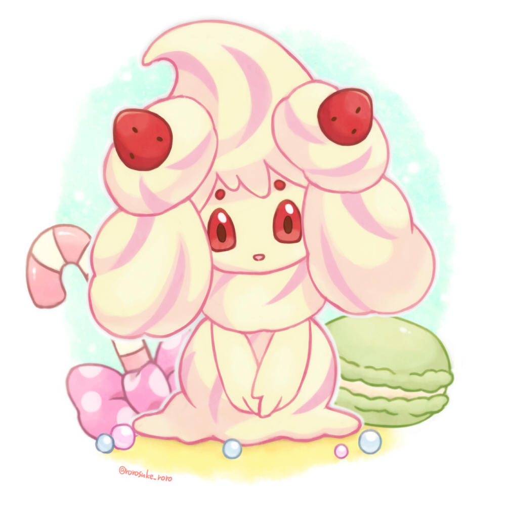 alcremie alcremie_(strawberry_sweet) alcremie_(vanilla_cream) artist_name bow brown_eyes candy candy_cane colored_sclera commentary_request food fruit gen_8_pokemon hands_together happy looking_at_viewer macaron no_humans open_mouth outline pink_bow pokemon pokemon_(creature) polka_dot polka_dot_bow red_sclera rorosuke smile solo strawberry twitter_username v_arms