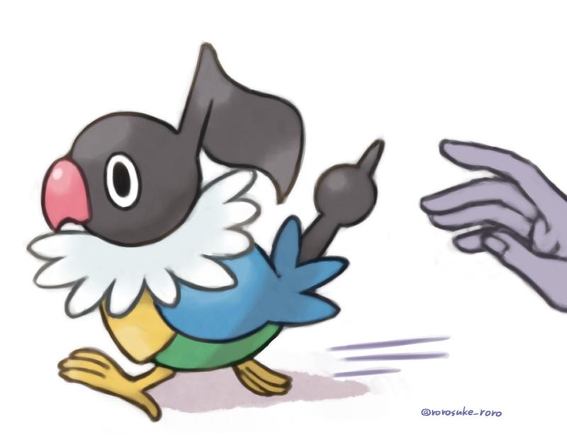 animal_focus artist_name bird black_eyes chatot commentary_request disembodied_limb from_side gen_4_pokemon motion_lines no_humans pokemon pokemon_(creature) rorosuke running solo twitter_username
