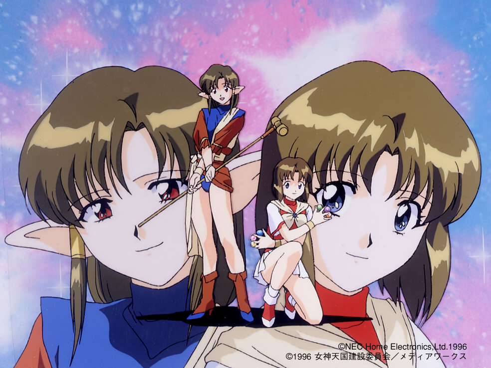 1990s_(style) 1996 2girls anjela ball bangs between_fingers blue_eyes brown_hair company_name copyright crossed_arms eyebrows_visible_through_hair hair_tubes hammer holding holding_ball holding_hammer holding_weapon lilith_(megami_paradise) long_hair looking_at_viewer megami_paradise multiple_girls official_art open_mouth pointy_ears red_eyes short_hair smile squatting standing turtleneck weapon wristband yamauchi_noriyasu