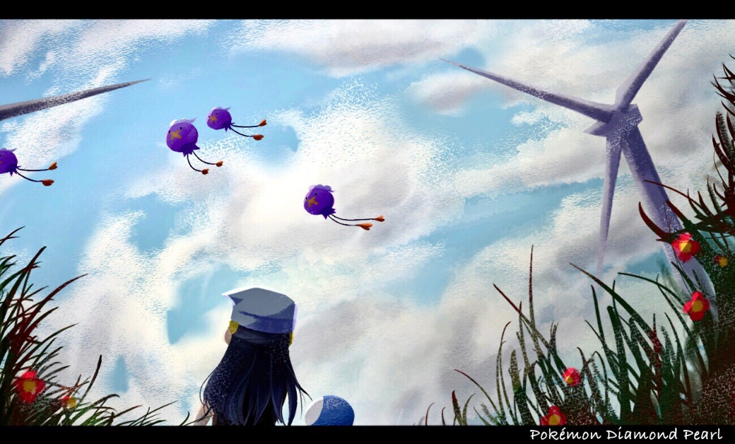 1girl beanie black_hair clouds commentary_request copyright_name dawn_(pokemon) day drifloon flower from_below gen_4_pokemon grass hair_ornament hairclip hat letterboxed long_hair outdoors pokemon pokemon_(creature) pokemon_(game) pokemon_dppt red_flower sbj_rocketlink sky wind_turbine