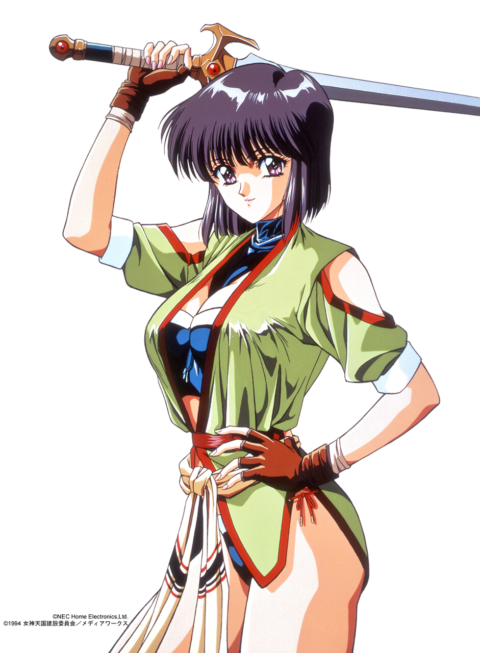 1990s_(style) 1994 1girl arm_up bangs black_hair brown_gloves clothing_cutout company_name copyright cowboy_shot fingerless_gloves gloves hand_on_hip highres holding holding_sword holding_weapon looking_at_viewer megami_paradise nail_polish official_art over_shoulder pink_nails rouge_(megami_paradise) short_sleeves shoulder_cutout simple_background smile solo sword sword_over_shoulder weapon weapon_over_shoulder white_background yoshizane_akihiro