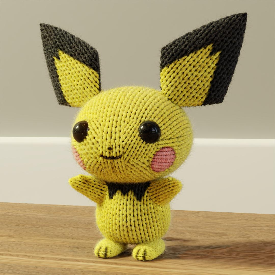 3d blender_(medium) full_body gen_2_pokemon looking_at_viewer no_humans pichu pokemon pokemon_(creature) simple_background solo standing stuffed_toy tagme wooden_floor