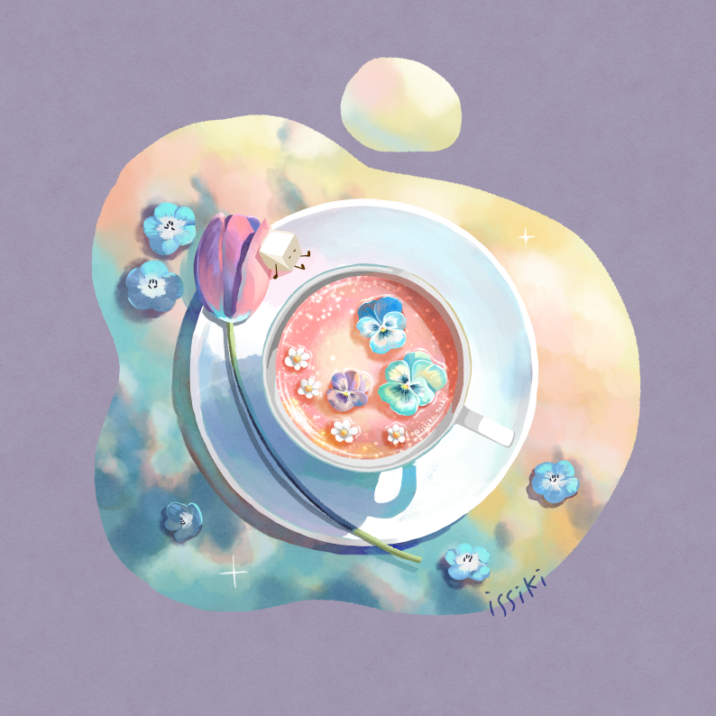 artist_name cup drink flower flower_on_liquid food_focus from_above green_flower issiki_t no_humans original pink_flower puddle purple_background saucer simple_background sitting sparkle sugar_cube tea teacup tulip twitter_username white_flower