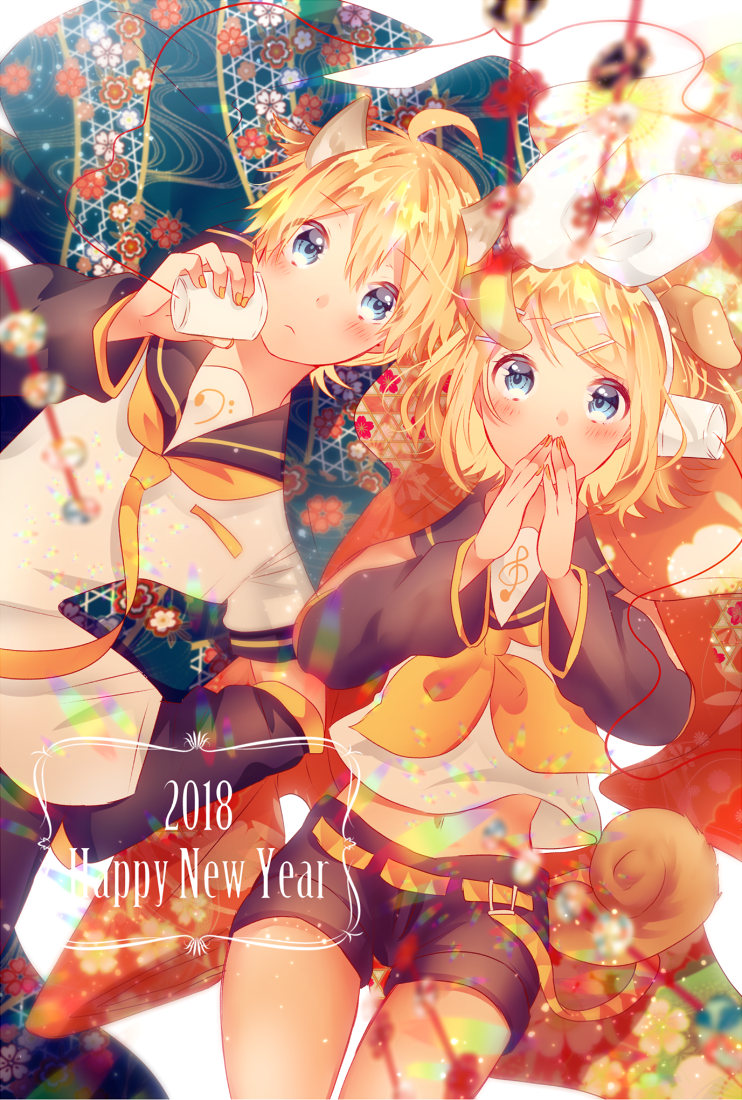 1boy 1girl 2018 ahoge animal_ears arm_warmers bangs bass_clef black_collar black_shorts blonde_hair blue_eyes blue_kimono blurry_foreground bow chinese_zodiac collar commentary cowboy_shot crop_top cup dog_ears dog_tail floral_print hair_bow hair_ornament hairclip hand_on_hip hands_over_own_mouth hands_together happy_new_year holding holding_cup japanese_clothes kagamine_len kagamine_rin kimono looking_at_viewer lying nail_polish neckerchief necktie new_year on_back rainbow razuko_(raspberry_aaa) red_kimono sailor_collar school_uniform shirt short_hair short_shorts short_sleeves shorts string_phone swept_bangs tail treble_clef vocaloid white_bow white_shirt year_of_the_dog yellow_nails yellow_neckwear