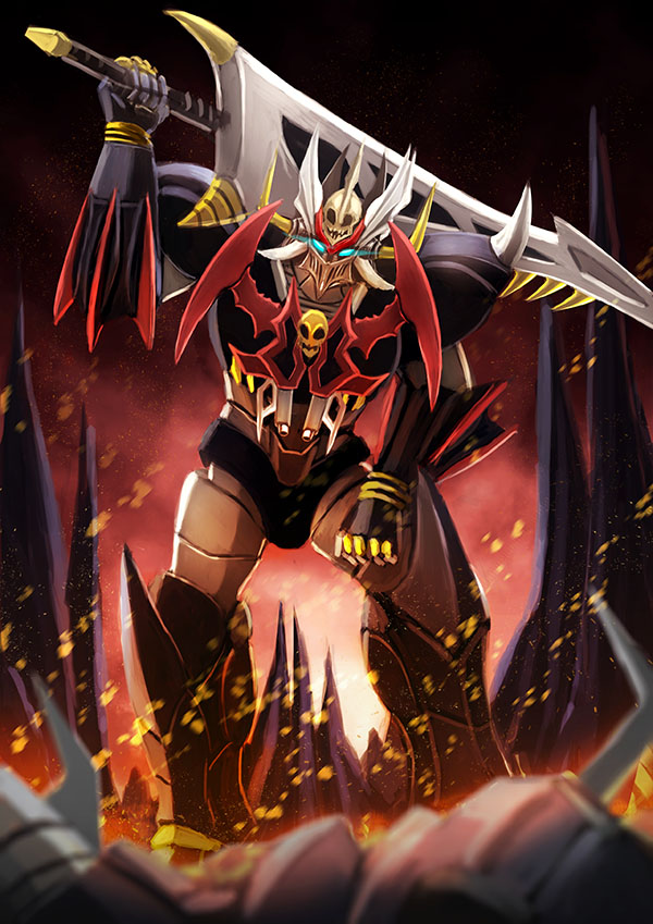 blue_eyes clenched_hand fire glowing glowing_eyes holding holding_sword holding_weapon mazinkaiser mazinkaiser_skl mazinkaiser_skl_(mecha) mecha no_humans science_fiction sikama-78 skull super_robot sword v-fin visor weapon