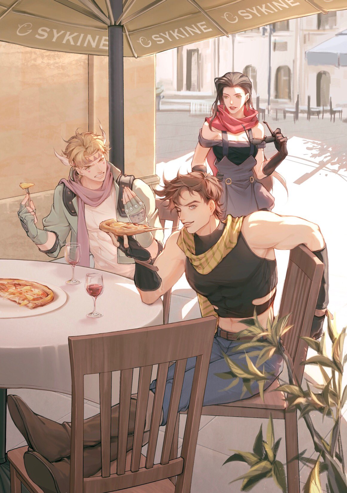 1girl 2boys abs alcohol artist_name bare_shoulders battle_tendency belt birthday black_gloves blonde_hair blue_gloves blue_jacket boots brown_belt brown_hair caesar_anthonio_zeppeli chair chanasykine cheese_trail clenched_teeth clothing_cutout commentary crop_top crossed_ankles cup denim dress drink drinking_glass earrings eating elbow_gloves elbow_rest english_commentary eyewear_removed facial_mark feathers fingerless_gloves food fork gloves grey_eyes grimace hair_feathers hand_on_hip hands_up hawaiian_pizza highres holding holding_eyewear holding_food holding_pizza jacket jeans jewelry jojo_no_kimyou_na_bouken joseph_joestar_(young) knee_boots lipstick lisa_lisa long_hair looking_at_another makeup midriff multiple_boys navel off-shoulder_dress off_shoulder one_eye_closed outdoors pants pink_scarf pizza pizza_slice plant red_lips red_scarf scarf short_hair sitting sleeveless smile striped striped_scarf sunglasses table tank_top teeth umbrella wine wine_glass