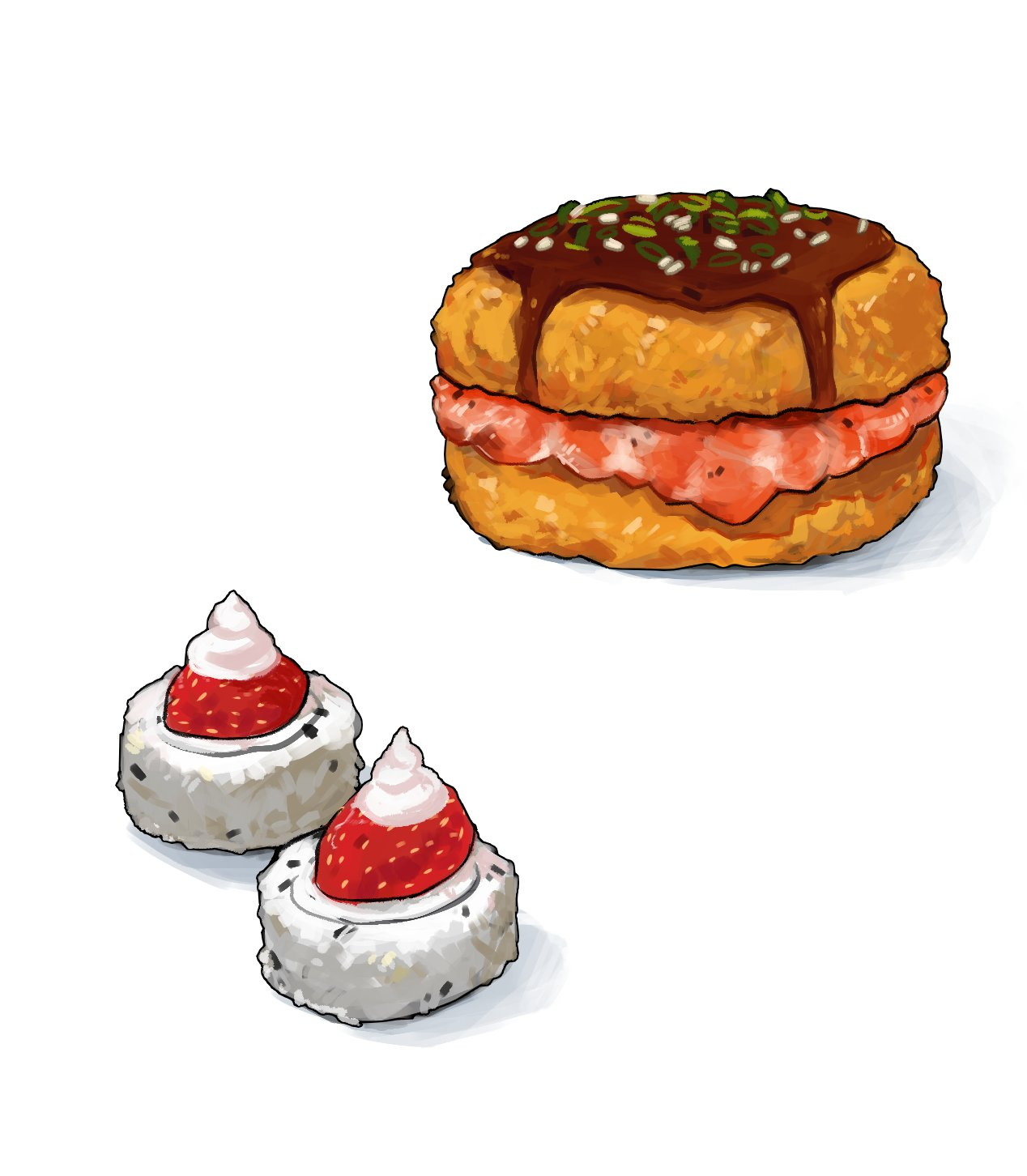 cream fish food food_focus fruit hamburger highres makizushi no_humans ocatg original rice sauce simple_background spring_onion still_life strawberry sushi white_background