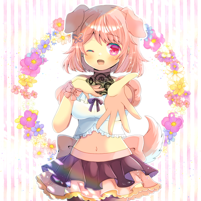 1girl ;d animal_ears bangs black_skirt blue_flower blush breasts brown_hair brown_legwear brown_sleeves butterfly_hair_ornament crop_top detached_sleeves dog_ears dog_girl dog_tail eyebrows_visible_through_hair floral_background flower frilled_shirt frills hair_ornament hand_up indie_virtual_youtuber kouu_hiyoyo layered_skirt looking_at_viewer medium_breasts midriff navel one_eye_closed open_mouth outstretched_arm pantyhose pink_flower pink_skirt pleated_skirt puffy_short_sleeves puffy_sleeves purple_flower red_eyes sango_shuka shirt short_hair short_sleeves skirt smile solo striped striped_background tail vertical_stripes virtual_youtuber white_flower white_shirt