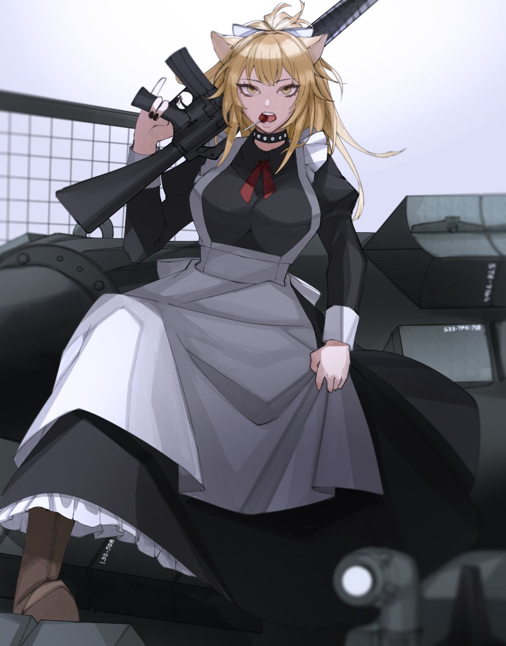 1girl alternate_costume animal_ears apron ar-15 arknights assault_rifle black_choker black_nails blonde_hair blush boots breasts brown_footwear candy choker commentary dress eyelashes food food_in_mouth frills gun hair_between_eyes hairband highres iuciferic large_breasts lion_ears lollipop long_dress long_hair long_sleeves maid maid_apron maid_headdress nail_polish open_mouth red_neckwear rifle siege_(arknights) solo studded_choker tank_top twitter_username victorian_maid weapon yellow_eyes