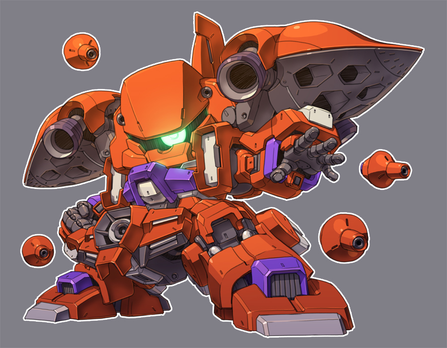 chibi clenched_hand funnels glowing glowing_eye green_eyes gundam gundam_zz looking_at_viewer mecha no_humans one-eyed open_hand quin_mantha redesign science_fiction solo standing susagane zeon