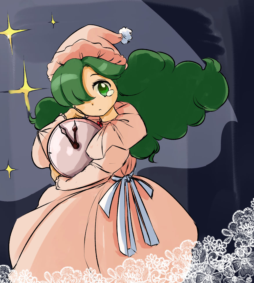 artist_request bangs blue_background capelet cowboy_shot dress frilled_sleeves frills green_eyes green_hair hat holding kazami_yuuka kazami_yuuka_(pc-98) long_dress long_hair long_sleeves looking_at_viewer nightcap one_eye_covered pajamas parted_bangs pink_dress pink_headwear pom_pom_(clothes) red_neckwear simple_background star_(symbol) tears touhou very_long_hair
