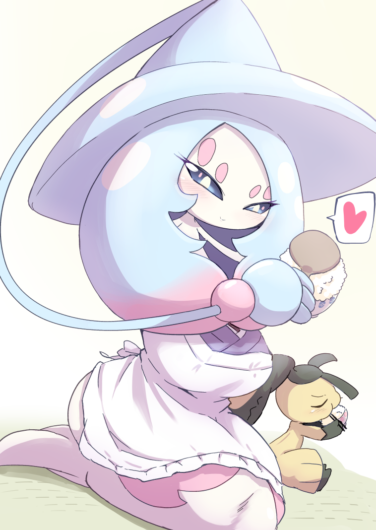 2girls absurdly_long_hair apron black_hair black_skin blue_hair blue_headwear blue_sclera blush bowl cheek_bulge chopsticks closed_eyes closed_mouth colored_sclera colored_skin commentary_request eating extra_mouth flat_chest from_side full_body gen_3_pokemon gen_8_pokemon gradient_hair hands_up happy hat hatterene heart holding holding_bowl holding_chopsticks kneeling long_hair looking_down mawile multicolored multicolored_hair multicolored_skin multiple_girls pink_hair poke_ball_symbol poke_ball_theme pokemon pokemon_(creature) prehensile_hair rice shiny shiny_hair simple_background smile solo_focus speech_bubble spoken_heart two-tone_hair two-tone_skin ukan_muri very_long_hair white_apron white_eyes witch_hat yellow_background yellow_skin