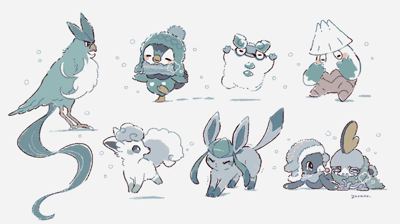 alolan_form alolan_vulpix arms_up articuno blush closed_eyes closed_mouth clothed_pokemon crying galarian_darumaka galarian_form gen_1_pokemon gen_4_pokemon gen_7_pokemon gen_8_pokemon glaceon green_scarf happy legendary_pokemon looking_back no_humans piplup pokemon pokemon_(creature) popplio scarf signature snover sobble stretch tears yurano_(upao)