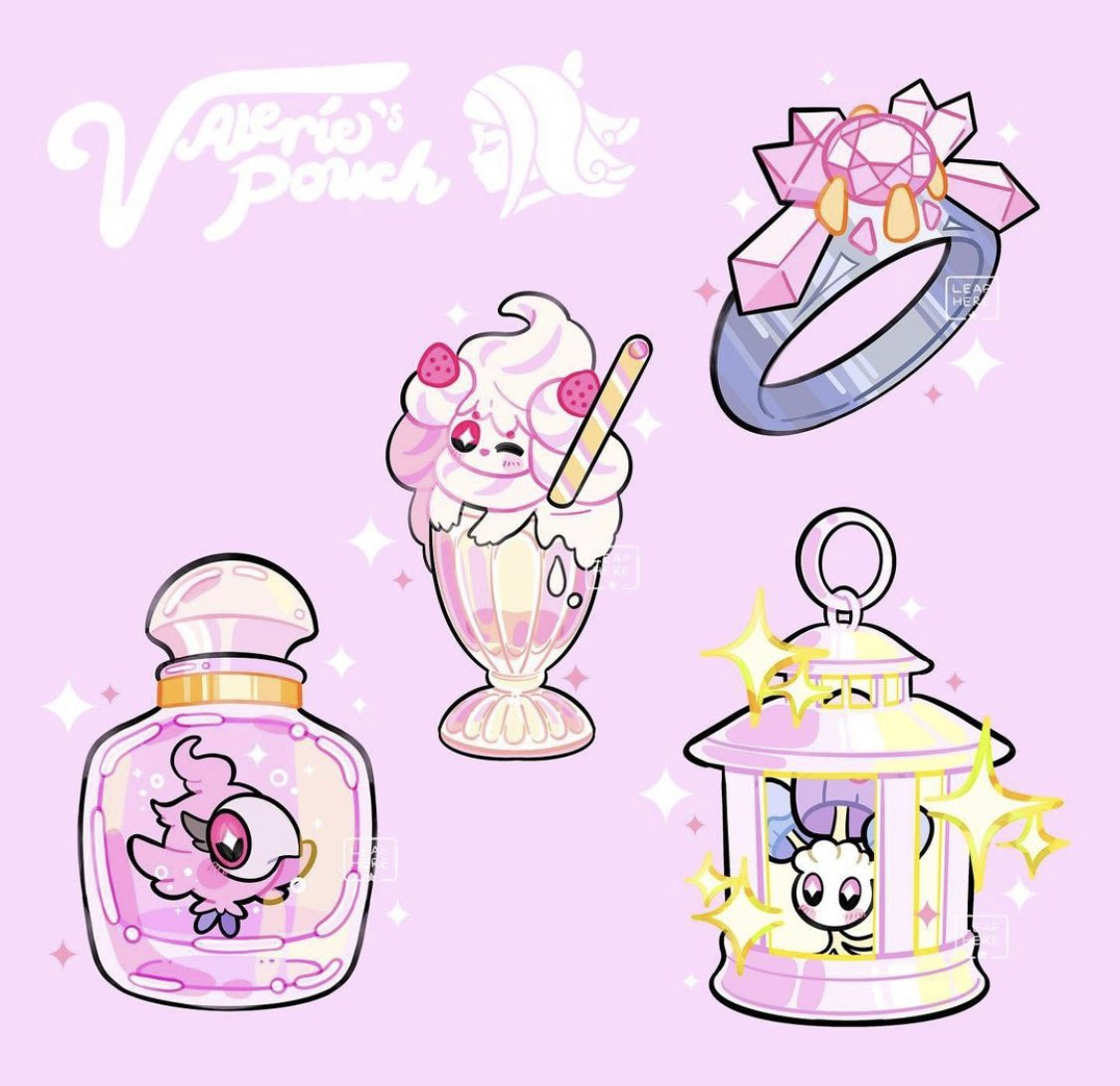 alcremie alcremie_(strawberry_sweet) artist_name bottle commentary diancie drinking_straw gem gen_6_pokemon gen_7_pokemon gen_8_pokemon glass jewelry lantern mythical_pokemon pink_background pokemon pokemon_(creature) pokemon_(game) pokemon_xy ring shiinotic simple_background sparkle spritzee valerie_(pokemon) watermark yamato-leaphere