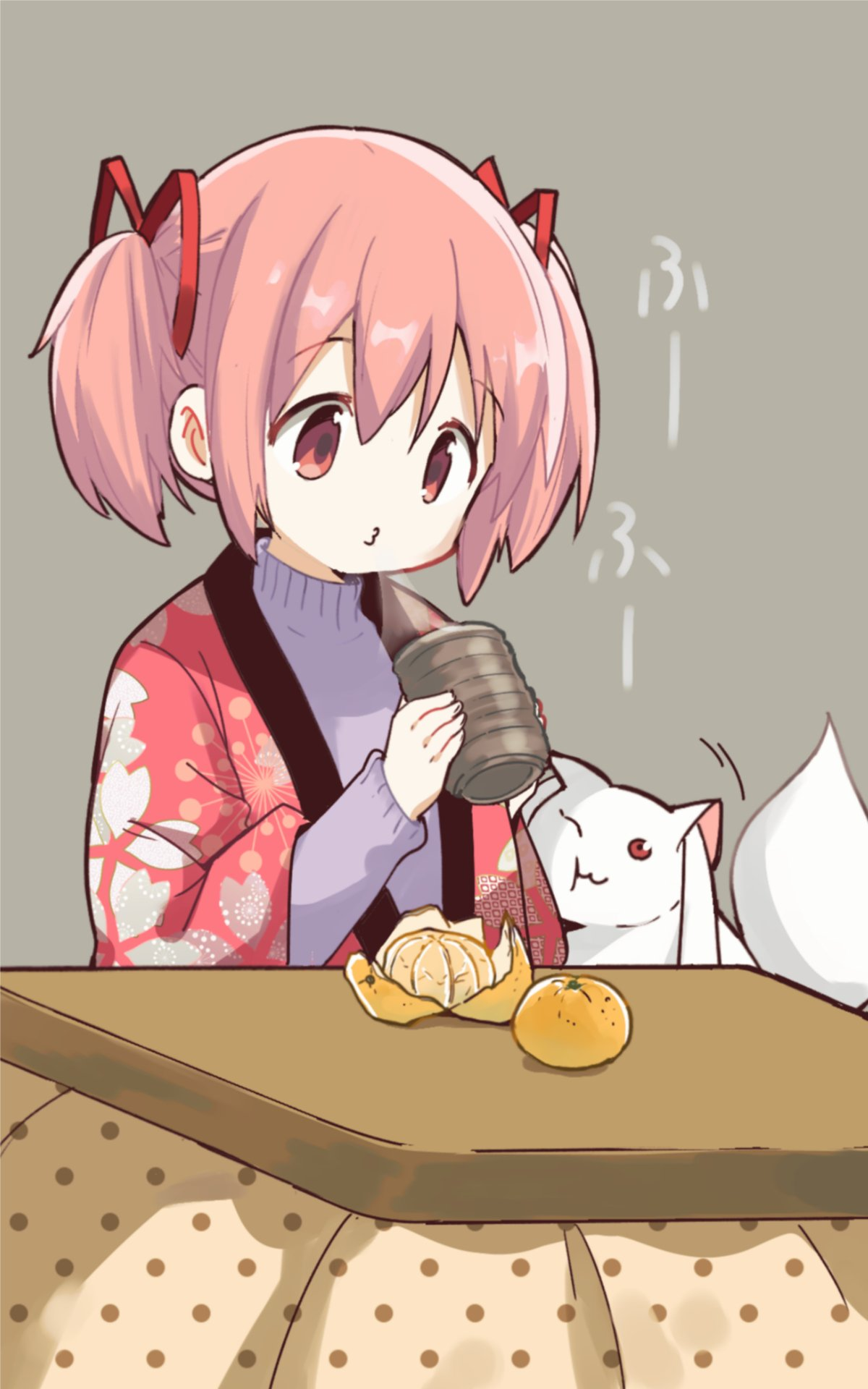 1girl black_outline blanket blowing blowing_steam cheek_press commentary creature cup eyebrows_visible_through_hair facing_viewer flat_chest food fruit grey_background hair_ribbon hands_up hanten_(clothes) high_collar highres holding holding_cup japanese_clothes kaname_madoka kotatsu kyubey leaf_print long_sleeves looking_down mahou_shoujo_madoka_magica mandarin_orange motion_lines no_nose orange outline pink_eyes pink_hair polka_dot puckered_lips purple_sweater red_ribbon ribbon shiny shiny_hair short_twintails simple_background solo steam sweater symbol_commentary table tareme translation_request tsubaki_(tatajd) twintails under_kotatsu under_table unmoving_pattern yunomi