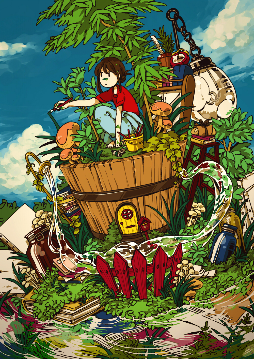 1girl alarm_clock barefoot black_hair blue_pants blue_sky book bucket chain clock clouds cloudy_sky door fence floating hasha highres jar leaf light_bulb mushroom original paint painting pants plant red_shirt ruler shirt short_hair short_sleeves sky solo squatting water wide_shot