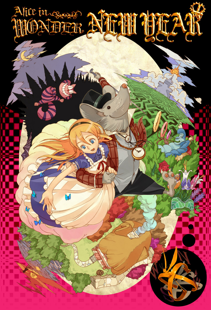 1boy 1girl :d alice_(wonderland) alice_in_wonderland animal_ears animal_head apron barefoot black_headwear blonde_hair blue_butterfly blue_dress blue_eyes bug butterfly castle caterpillar_(wonderland) cheshire_cat closed_mouth crescent_moon dress fishnets full_moon furry grey_vest hairband hat highres insect jacket long_hair long_sleeves maze moon mouse_ears open_mouth photoshop_(medium) pocket_watch puffy_short_sleeves puffy_sleeves red_jacket ryota-h short_sleeves smile top_hat vest watch white_apron