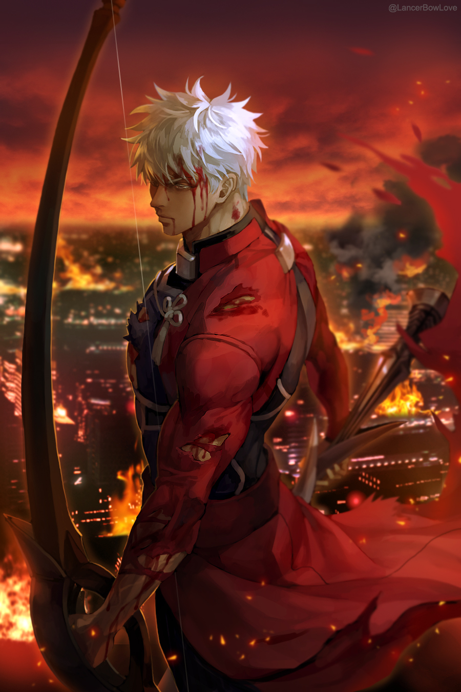 1boy archer artist_name bangs blood blood_from_mouth blood_on_face bow_(weapon) clothing_request dark_skin dark_skinned_male fate/stay_night fate_(series) fire from_side highres holding holding_bow_(weapon) holding_weapon injury jacket kim_yura_(goddess_mechanic) long_sleeves male_focus muscular muscular_male red_jacket red_sky serious shiny shiny_hair short_hair sky smoke solo torn_clothes weapon white_hair