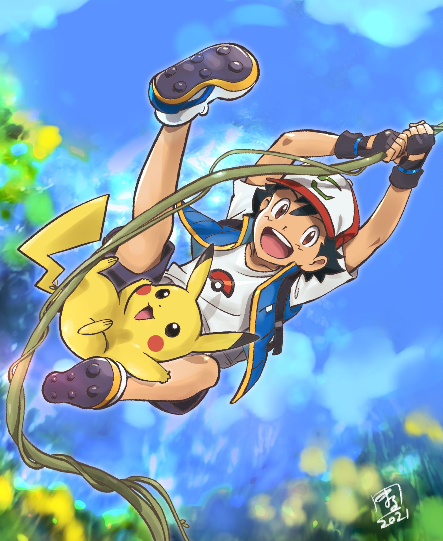 1boy ash_ketchum bangs baseball_cap black_gloves black_hair brown_eyes commentary_request dated day fingerless_gloves gen_1_pokemon gloves hat highres jacket male_focus marufuji_hirotaka open_clothes open_jacket open_mouth outdoors pikachu plant pokemon pokemon_(anime) pokemon_(creature) pokemon_m23 shirt shoes short_sleeves shorts sleeveless sleeveless_jacket smile teeth tongue vines white_shirt