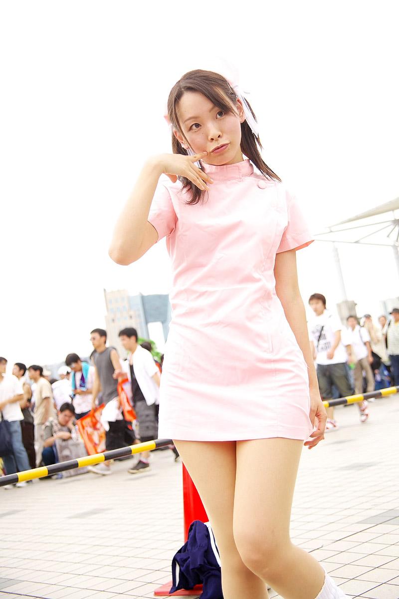 cosplay hair_bow kodama_hikaru loose_socks night_shift_nurses nurse nurse_uniform yuu