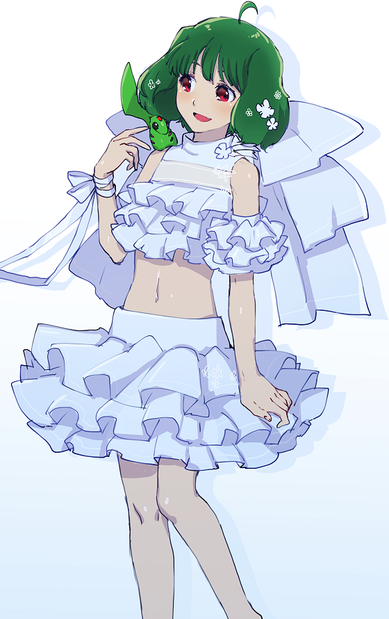 1girl ai-kun arm_strap bangs blush bow chaku_(horhor71) cowlick crop_top eyebrows_behind_hair fang gradient gradient_background green_hair halter_top halterneck huge_bow looking_down macross macross_frontier midriff navel on_shoulder open_mouth ranka_lee skin_fang skirt solo tail white_bow white_skirt