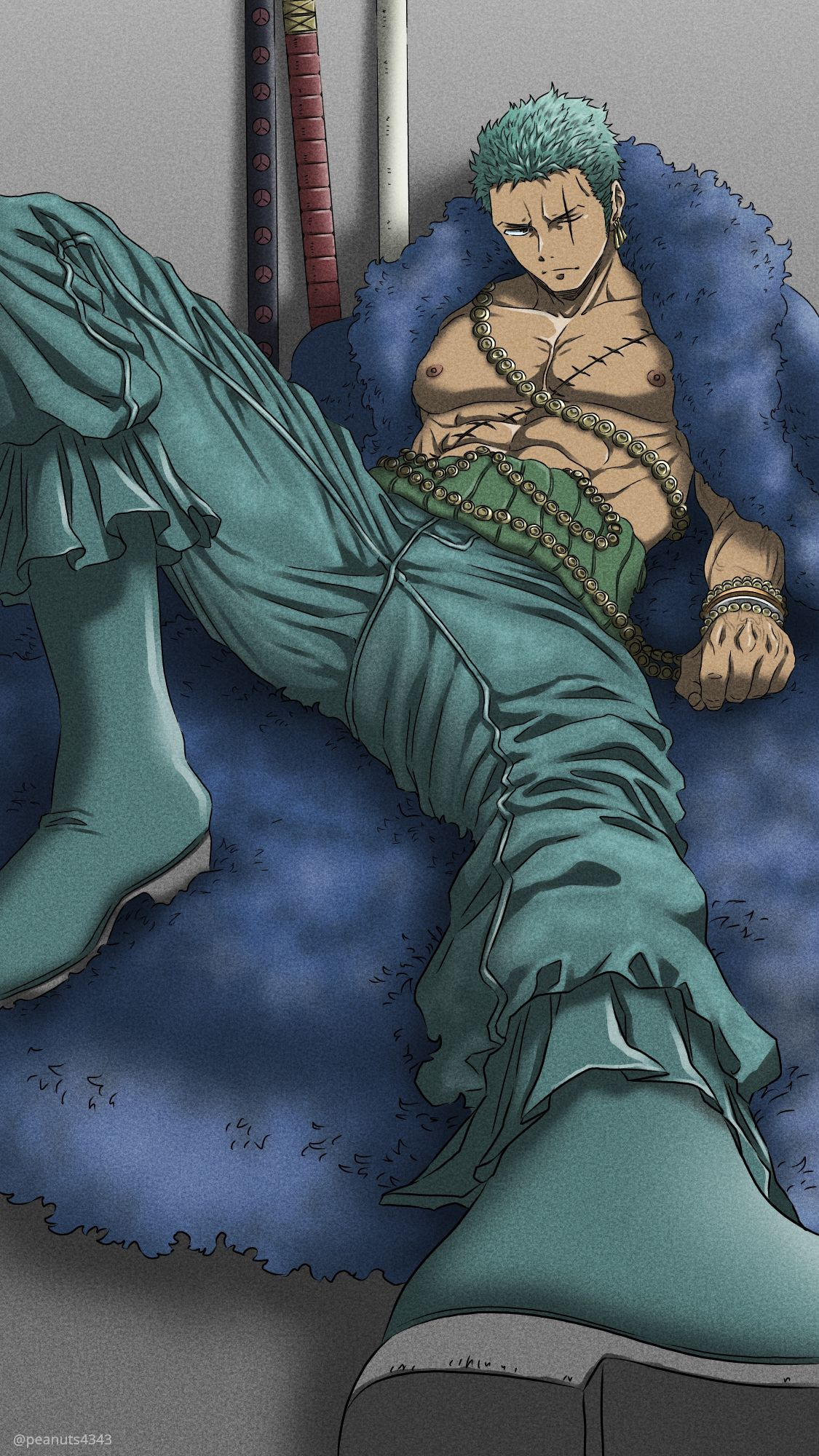 1boy abs bare_pecs dark_skin dark_skinned_male feather_boa foreshortening green_hair green_pants highres knee_up large_pectorals male_focus muscular muscular_male nipples one_piece pants pectorals pinattsu roronoa_zoro scar scar_across_eye scar_on_chest sheath sheathed short_hair sitting solo spread_legs stomach