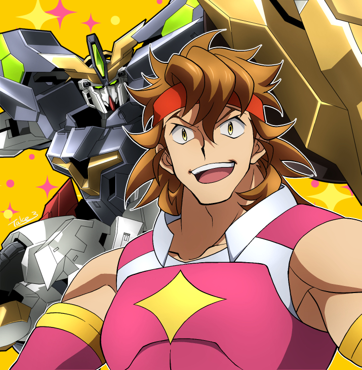 1boy brown_hair collarbone green_eyes gundam gundam_aegis_knight gundam_build_divers gundam_build_divers_re:rise headband holding holding_shield mecha mobile_suit muscular muscular_male open_mouth red_headband science_fiction shield takesake torimachi_kazami v-fin v-shaped_eyebrows yellow_eyes