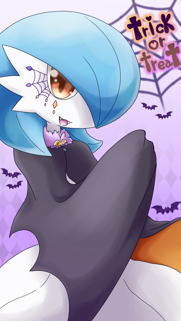 1girl alternate_color argyle argyle_background bat black_cape blue_hair cape clothed_pokemon commentary_request english_text facial_tattoo fangs gardevoir gen_3_pokemon gradient gradient_background hair_over_one_eye halloween hand_up happy heart highres looking_at_viewer muguet open_mouth orange_eyes pokemon pokemon_(creature) purple_background shiny_pokemon short_hair silk smile solo spider_web standing star_(symbol) tattoo text_focus trick_or_treat