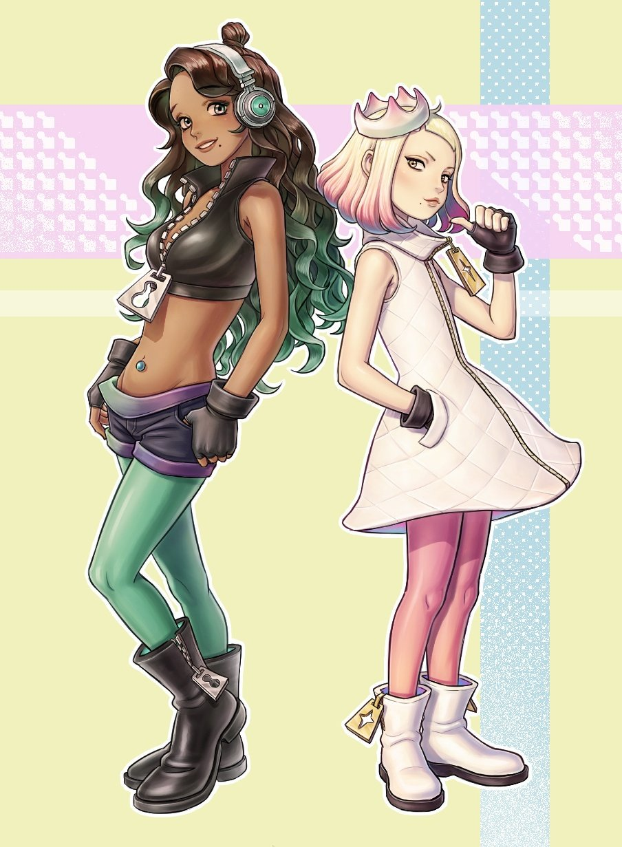 2girls ankle_boots back-to-back bangs black_footwear black_gloves black_shorts boots breasts commentary_request cropped_vest crown dark-skinned_female dark_skin dress fingerless_gloves flat_chest full-length_zipper full_body gloves gradient_hair green_eyes green_legwear grey_eyes hand_in_pocket headphones highres humanization jyolin_manula korean_commentary lips long_hair looking_at_viewer marina_(splatoon) medium_breasts mole mole_under_mouth multicolored_hair multiple_girls navel navel_piercing pearl_(splatoon) piercing pink_hair pink_legwear pointing pointing_at_self popped_collar short_hair shorts sleeveless sleeveless_dress splatoon_(series) splatoon_2 thumb_in_pocket topknot two-tone_hair unzipped vest wavy_hair white_dress white_footwear white_hair wireless zipper zipper_footwear zipper_pull_tab
