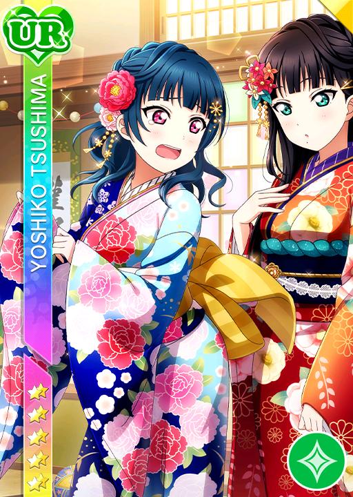 blue_hair blush character_name dress kimono kurosawa_dia long_hair love_live!_school_idol_festival love_live!_sunshine!! pink_eyes tsushima_yoshiko