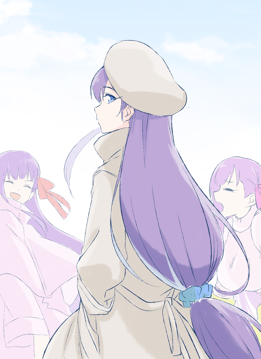 3girls bangs bb_(fate) bb_(fate)_(all) beige_coat beret blue_eyes blue_sky blush breasts closed_eyes coat coffeekite fate/extra fate/extra_ccc fate_(series) hair_ribbon hat highres large_breasts long_hair looking_at_viewer looking_back meltryllis_(fate) multiple_girls open_mouth passionlip_(fate) pink_coat pink_ribbon ponytail purple_hair red_ribbon ribbon sky small_breasts smile sweater very_long_hair white_sweater