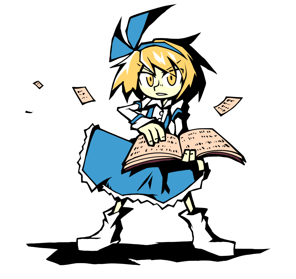 1girl alice_margatroid alice_margatroid_(pc-98) bangs blonde_hair blue_hairband blue_skirt book buttons collared_shirt eyebrows_visible_through_hair flying_paper full_body hairband holding holding_book long_sleeves looking_at_viewer pages paper setz shirt short_hair simple_background skirt solo standing suspenders touhou touhou_(pc-98) v-shaped_eyebrows white_background white_shirt yellow_eyes