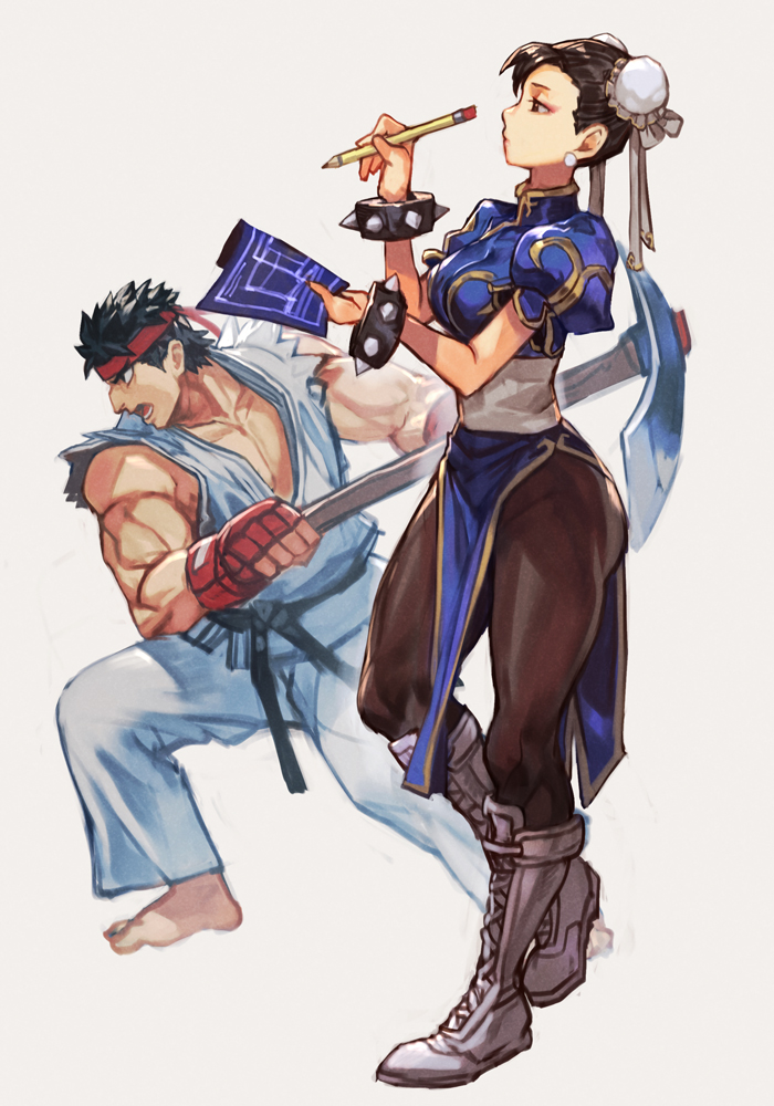 1boy 1girl barefoot black_hair blueprint boots china_dress chinese_clothes chun-li double_bun dougi dress earrings hungry_clicker jewelry makeup mascara muscular muscular_male open_mouth pantyhose pelvic_curtain pencil pickaxe ryu_(street_fighter) short_hair spiky_hair street_fighter street_fighter_ii_(series) thick_thighs thighs traditional_media white_footwear