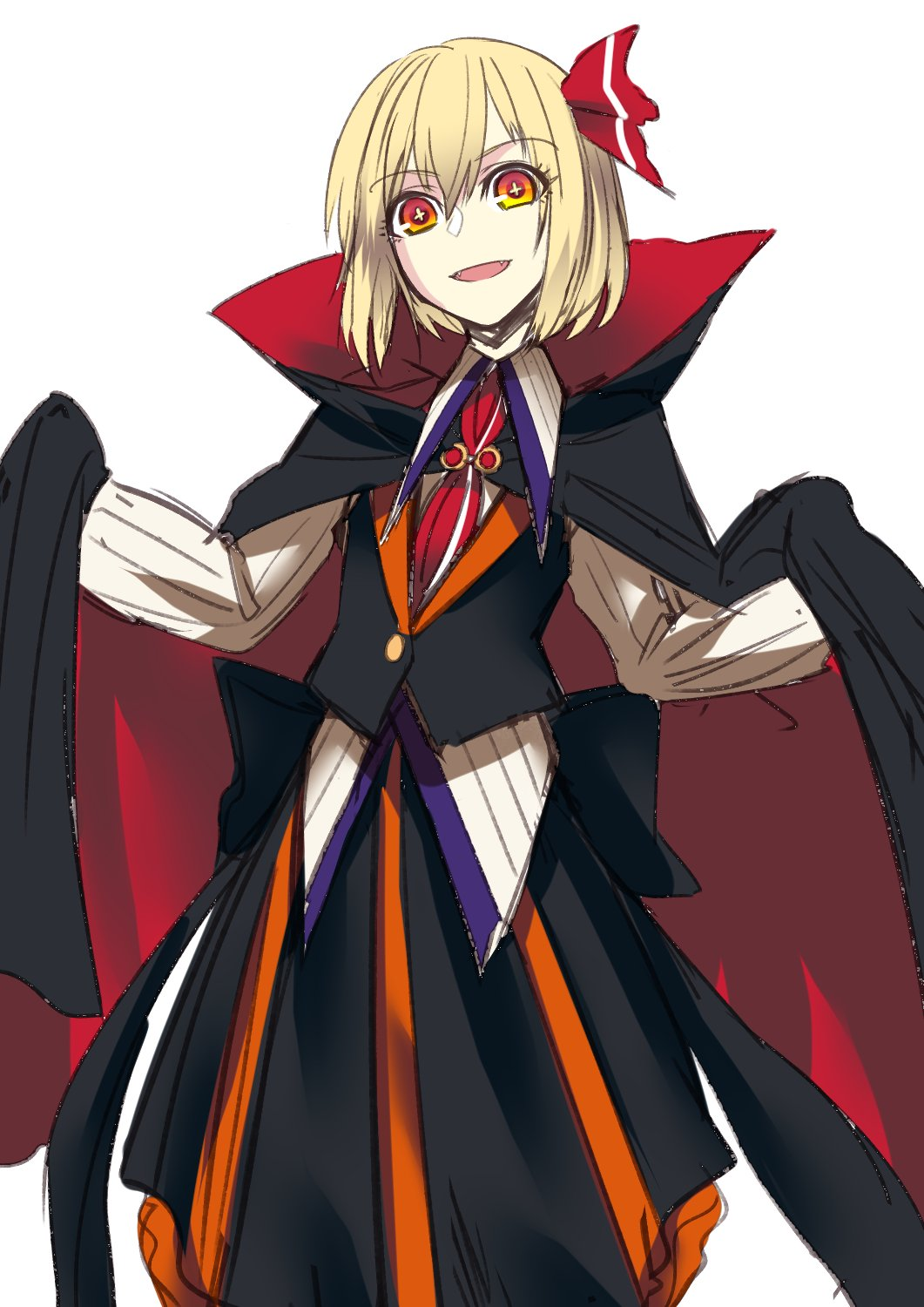 +_+ 1girl :d black_cape black_skirt black_vest cape gradient_eyes hair_ornament highres long_sleeves looking_at_viewer medium_hair multicolored multicolored_eyes necktie open_mouth red_eyes red_neckwear rumia shirt shukusuri simple_background skirt smile solo standing touhou two-sided_cape two-sided_fabric vest white_background white_shirt