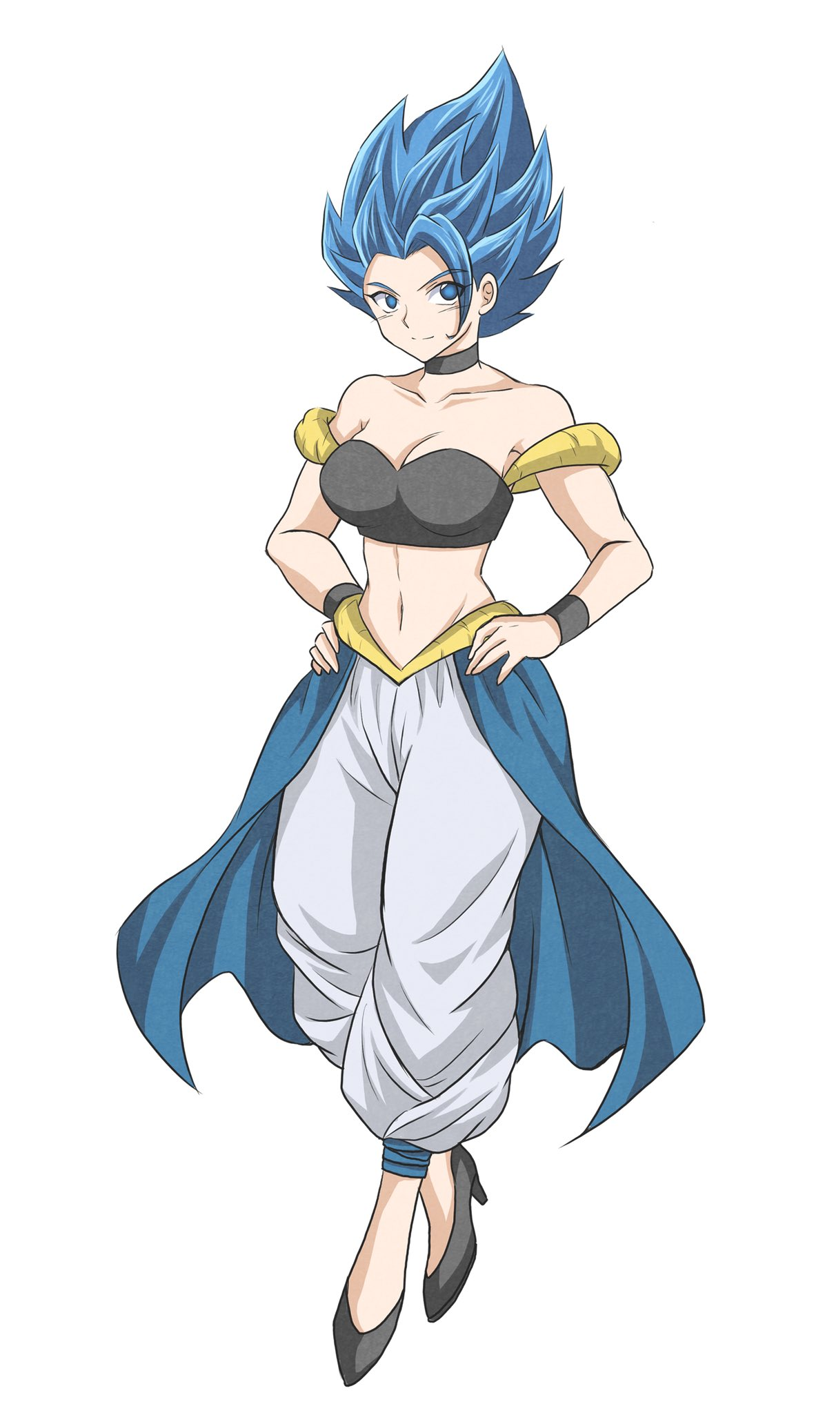 1girl alternate_costume blue_eyes blue_hair bracelet choker closed_mouth collarbone dragon_ball dragon_ball_super genderswap genderswap_(mtf) gogeta hands_on_hips high_heels highres jewelry light_smile looking_at_viewer pants solo spiky_hair super_saiyan super_saiyan_blue taka_lovecheese waist_cape white_pants