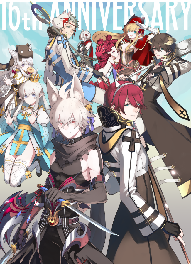 4boys 5girls ahoge animal_ears animal_on_head anniversary archbishop_(ragnarok_online) arm_blade armor assassin_cross_(ragnarok_online) back-to-back bangs bell belt_collar black_cape black_coat black_dress black_footwear black_gloves black_hair black_pants black_scarf black_shirt blonde_hair blue_coat blue_dress blue_eyes blue_ribbon brown_dress cape cleavage_cutout closed_mouth clothing_cutout coat collar commentary_request cowboy_shot creator_(ragnarok_online) crown dagger demon_horns deviruchi_hat doughnut dress dual_wielding elbow_gloves eyebrows_visible_through_hair eyes_visible_through_hair fake_horns fingerless_gloves fishnet_legwear fishnets food fox_ears fox_mask frilled_sleeves frills gauntlets gloves guillotine_cross_(ragnarok_online) hair_bell hair_between_eyes hair_cones hair_ornament hair_ribbon hairband hat high_heels holding holding_dagger holding_staff holding_weapon horns jingle_bell juliet_sleeves kusabi_(aighe) lif_(ragnarok_online) living_clothes long_hair long_sleeves looking_at_another looking_at_viewer looking_back looking_to_the_side mask monster_girl multiple_boys multiple_girls on_head open_clothes open_coat open_mouth open_shirt pants pauldrons plant_girl pointy_ears potion pouch puffy_sleeves ragnarok_online red_armor red_cape red_eyes red_scarf revealing_clothes ribbon salute scarf shirt short_dress short_hair shoulder_armor sidelocks sleeveless sleeveless_shirt smile staff strapless strapless_dress teeth thigh-highs tight_shirt torn_scarf two-tone_coat two-tone_dress vial waist_cape weapon white_coat white_dress white_hair white_legwear white_pants