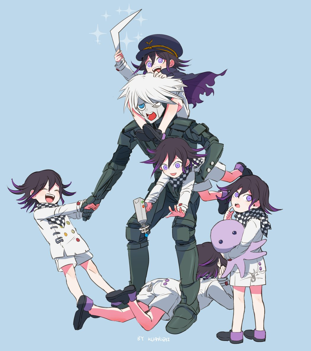 6+boys ahoge_removed android artist_name black_cape black_footwear black_hair blue_eyes braid cape checkered checkered_scarf child closed_eyes commentary_request contrapposto danganronpa_(series) danganronpa_v3:_killing_harmony double-breasted green_background gun hand_grab happy hat holding holding_another holding_gun holding_stuffed_toy holding_weapon keebo kuangtai_(amami_ryoko) leaning_forward looking_at_viewer lying male_focus multiple_boys multiple_persona on_shoulder on_stomach open_mouth ouma_kokichi peaked_cap pink_eyes power_armor pulling purple_hair scarf shoes short_hair shorts simple_background straitjacket stuffed_animal stuffed_octopus stuffed_toy torn_cape torn_clothes violet_eyes weapon white_hair white_shorts younger