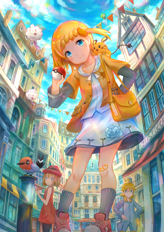 1boy 2girls ahoge bag blonde_hair blue_eyes blush bonnie_(pokemon) brother_and_sister building buttons clemont_(pokemon) closed_mouth clouds commentary_request day dedenne eyelashes fletchling from_below gen_6_pokemon hat holding holding_poke_ball knees kutsunohito legendary_pokemon looking_at_viewer multiple_girls on_shoulder outdoors overalls poke_ball poke_ball_(basic) pokemon pokemon_(anime) pokemon_(creature) pokemon_on_shoulder pokemon_xy_(anime) ribbed_legwear serena_(pokemon) shirt shoes siblings skirt sky sneakers socks swirlix window zygarde zygarde_core