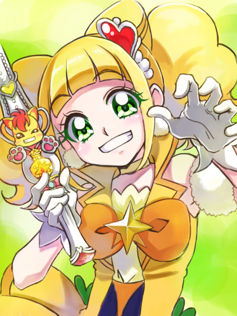 1girl bangs blonde_hair blunt_bangs bow brooch choker cure_sparkle double_bun gloves green_background green_eyes grin hair_cones hair_ornament healin'_good_precure healing_wand heart heart_hair_ornament hiramitsu_hinata holding holding_wand jewelry looking_at_viewer magical_girl mixed-language_commentary nekomaru nyatoran_(precure) orange_bow paw_pose precure short_hair smile solo twintails upper_body wand white_gloves yellow_neckwear