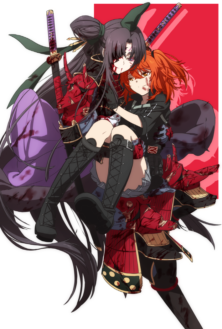 2girls armor bangs black_hair blood blood_on_face blue_eyes boots carrying cross-laced_footwear fate/grand_order fate_(series) fujimaru_ritsuka_(female) gloves hair_over_one_eye japanese_armor katana lace-up_boots long_hair looking_at_another medium_hair multiple_girls oiun orange_eyes orange_hair parted_bangs pauldrons pleated_skirt princess_carry samurai shoulder_armor simple_background skirt smile sode standing standing_on_one_leg sword two_side_up ushiwakamaru_(avenger)_(fate) very_long_hair weapon white_background yuri