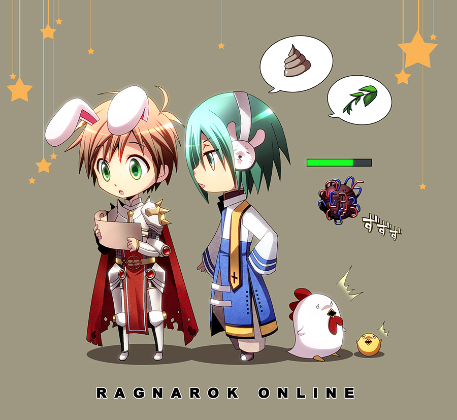 2boys ^^^ animal_ears archbishop_(ragnarok_online) armor armored_boots bangs bird blue_coat boots breastplate brown_hair chibi chick chicken coat commentary_request constant eyes_visible_through_hair full_body gauntlets green_eyes green_hair grey_background hairband health_bar holding holding_paper leaf leg_armor looking_at_another male_focus multiple_boys nip_sakazuki open_mouth pants paper pauldrons poop rabbit_ears ragnarok_online rune_knight_(ragnarok_online) short_hair shoulder_armor simple_background speech_bubble spiked_pauldrons star_(symbol) two-tone white_coat white_hairband white_pants