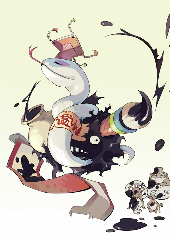 1girl 2boys bald beard beige_background cane clouds commentary_request darkness demon dress evil_nymph evil_snake_lord facial_hair gradient gradient_background hagoromo hair_rings hat hermit_plant ink jar long_hair multiple_boys ofuda paintbrush plant_boy ragnarok_online scroll shawl simple_background snake taoist_hermit tennohi tongue tongue_out unamused white_snake