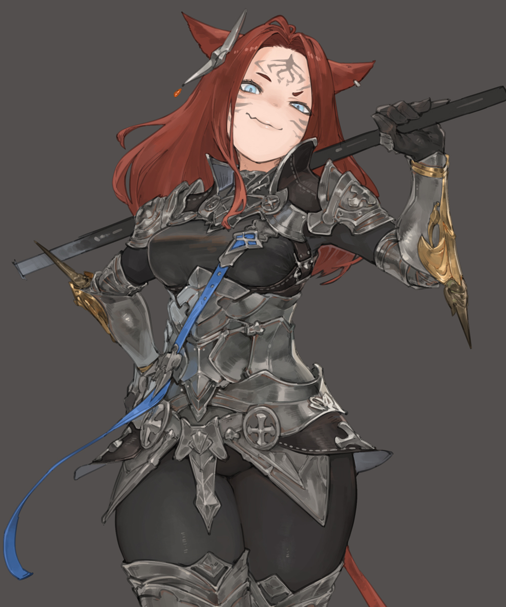 1girl animal_ears armor blue_eyes brown_hair cat_ears cat_tail earrings facial_mark fang final_fantasy final_fantasy_xiv greaves grey_background hand_on_hip highres holding holding_weapon jewelry light_blue_eyes long_hair miqo'te n9+ over_shoulder pauldrons shoulder_armor simple_background skin_fang smile solo spikes tail tight vambraces weapon weapon_over_shoulder whisker_markings