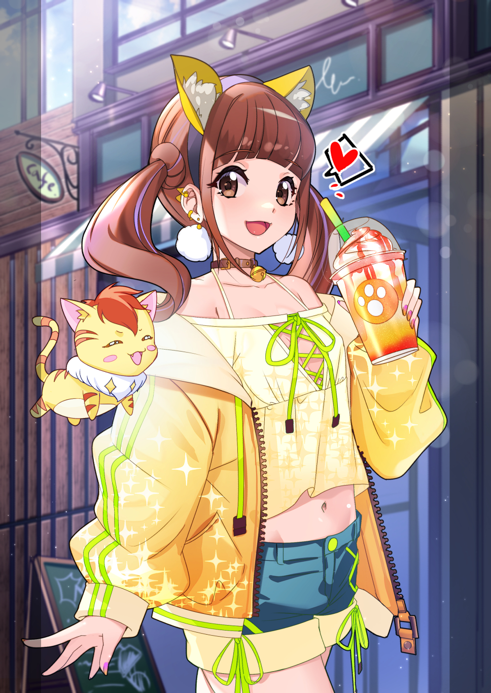 1girl alternate_costume animal_ears blue_shorts brown_collar brown_eyes brown_hair cat_ears collar cup drinking_straw fake_animal_ears healin'_good_precure highres hiramitsu_hinata holding holding_cup jacket looking_at_another midriff navel nyatoran_(precure) open_mouth precure rumo short_hair shorts smile twintails yellow_jacket